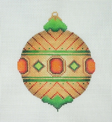click here to view larger image of Jeweled Christmas Ball / Gold / Red & Green Jewels / Red & Green Accents  (hand painted canvases)