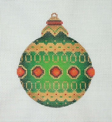 click here to view larger image of Jeweled Christmas Ball / Green / Red Jewels / Gold, Red & Green accents (hand painted canvases)