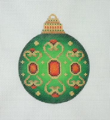 click here to view larger image of Jeweled Christmas Ball / Green / Red Jewels / Gold Accents  (hand painted canvases)