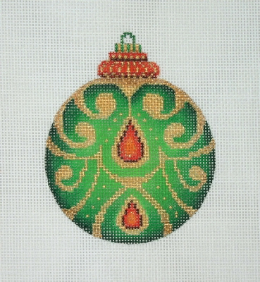 click here to view larger image of Jeweled Christmas Ball / Green / Red Jewels / Gold Accent (hand painted canvases)