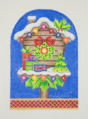 click here to view larger image of Christmas Ornament / Birdhouse / Wreath, Christmas Lights, & Tree  (hand painted canvases)