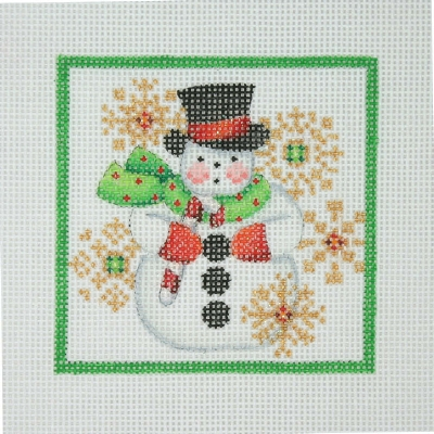 click here to view larger image of Christmas Ornament / Snowman & Snowflakes / Green Border  (hand painted canvases)