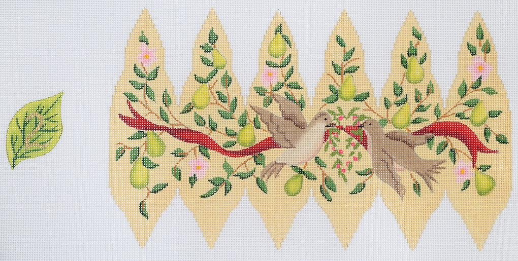 click here to view larger image of Two Turtle Doves - Day 2-  Twelve Days of Christmas Pears (hand painted canvases)