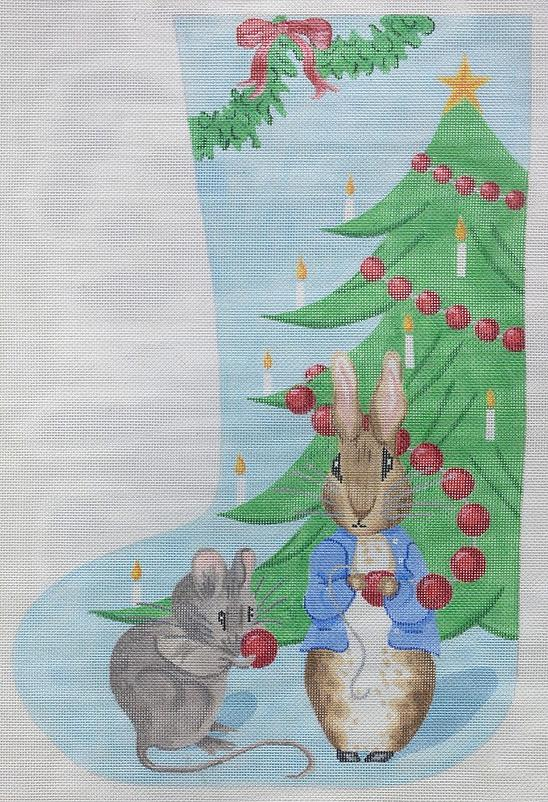 click here to view larger image of Bunny and Mouse with Christmas Tree Stocking (hand painted canvases)