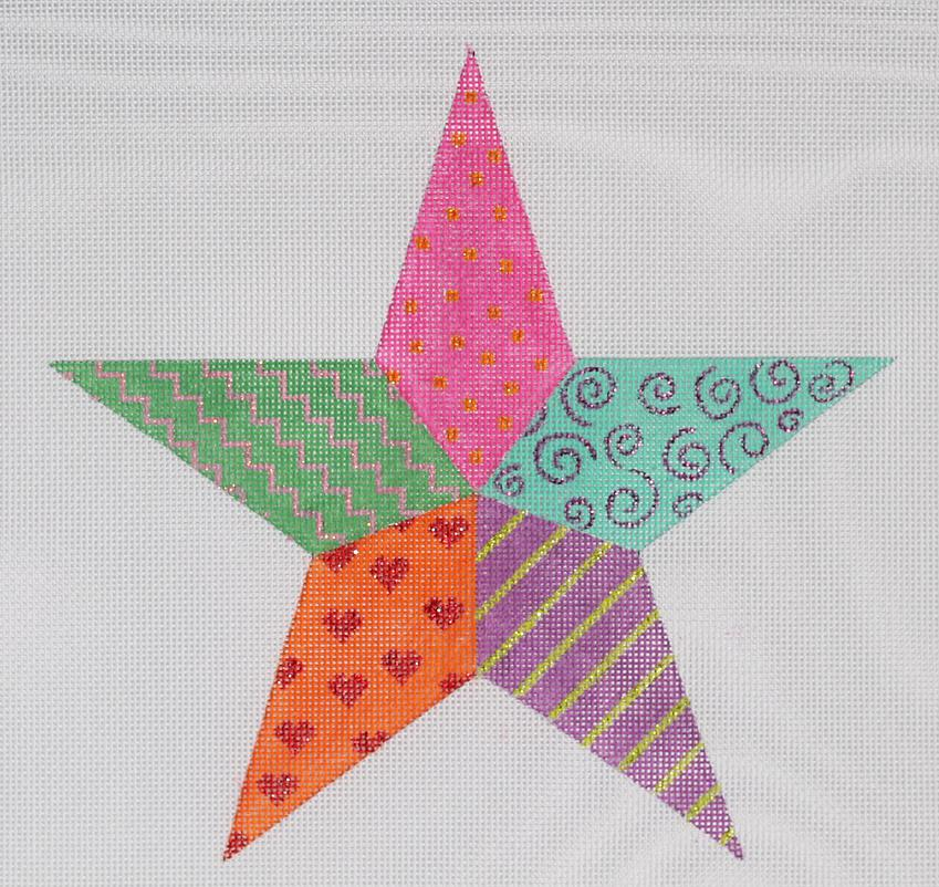 click here to view larger image of Funky Fiesta Star Tree Topper (hand painted canvases)