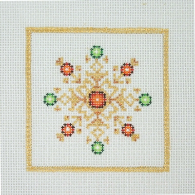 click here to view larger image of Christmas Ornament / Snowflake with Red & Green Jewels / Gold Border (hand painted canvases)