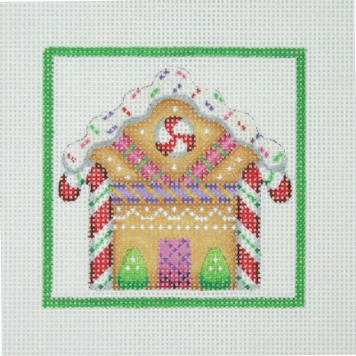 click here to view larger image of Christmas Ornament / Gingerbread House / Green Border  (hand painted canvases)