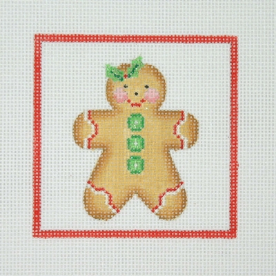 click here to view larger image of Christmas Ornament / Gingerbread Man with Holy & Green Buttons / Red Border  (hand painted canvases)