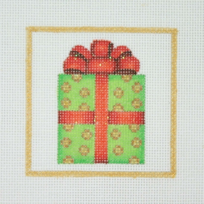 click here to view larger image of Christmas Ornament / Package / Green & Gold with Red Bow / Gold Border (hand painted canvases)