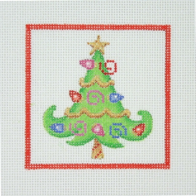 click here to view larger image of Christmas Ornament / Tree with Christmas Lights / Red Border  (hand painted canvases)