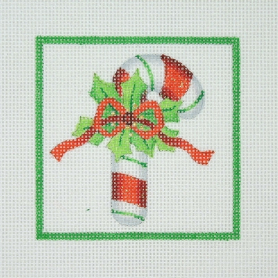 click here to view larger image of Christmas Ornament / Candy Cane with Holly & Red Bow / Green Border  (hand painted canvases)