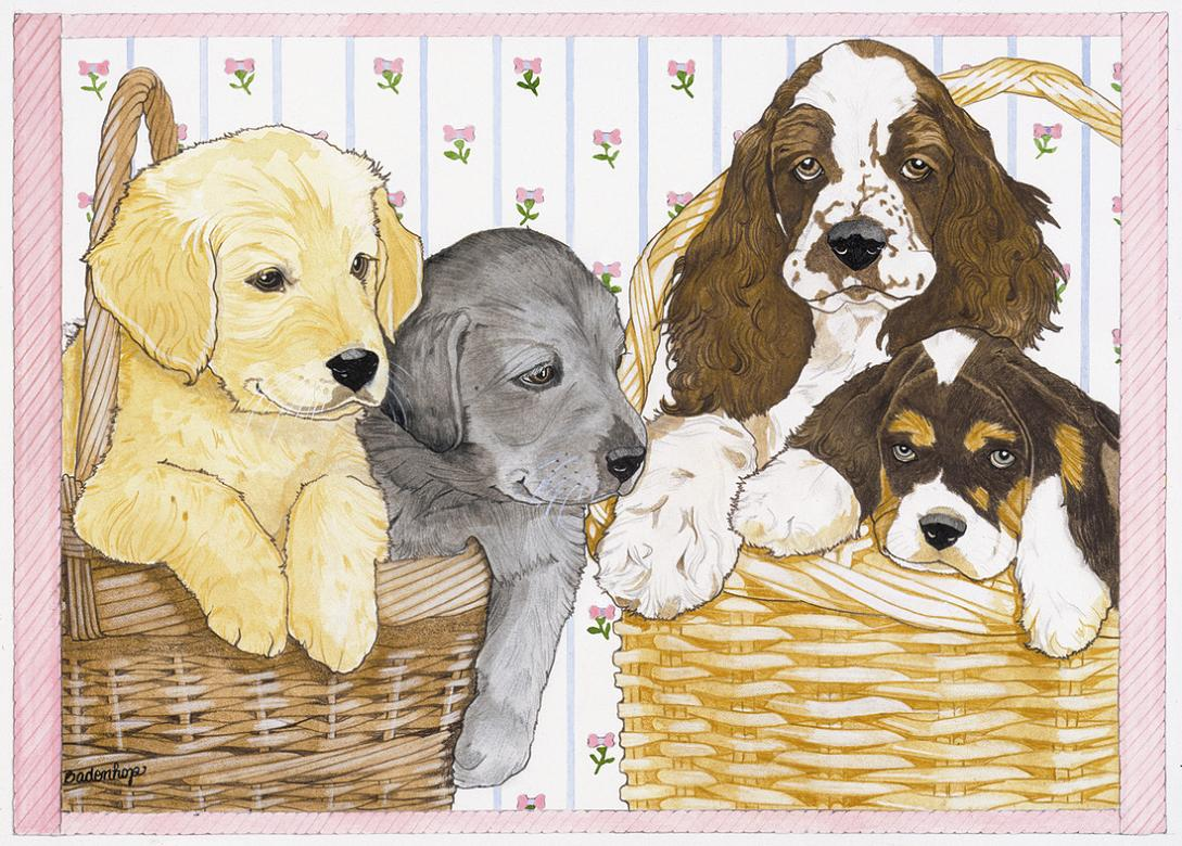 click here to view larger image of Dogs in a Basket (hand painted canvases)