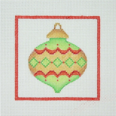 click here to view larger image of Christmas Ornament / Christmas Ball / Green, Gold, & Red / Red Border (hand painted canvases)