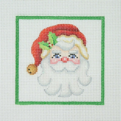 click here to view larger image of Christmas Ornament / Santa Face / Holly / Green Border (hand painted canvases)
