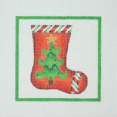 click here to view larger image of Christmas Ornament / Sock with Tree & Candy Cane Border / Green Border (hand painted canvases)