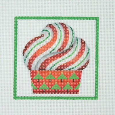 click here to view larger image of Christmas Ornament / Cupcake / Candy Cane Frosting / Green Border  (hand painted canvases)