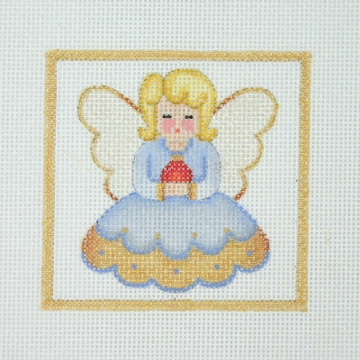 click here to view larger image of Christmas Ornament / Angel / Blue & Gold Dress / Gold Border  (hand painted canvases)