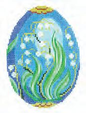 click here to view larger image of Lilies of the Valley on Blue Faberge Egg (hand painted canvases)