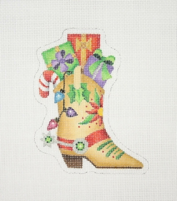click here to view larger image of Christmas Ornament / Cowboy Boot with Packages  (hand painted canvases)