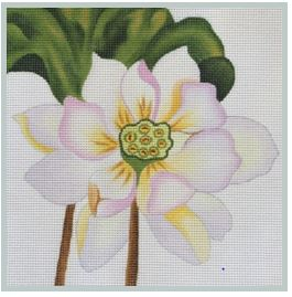 click here to view larger image of Single White Lotus (hand painted canvases)