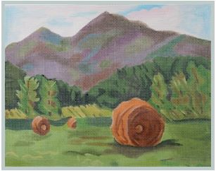 click here to view larger image of Haystacks in the Fields (hand painted canvases)