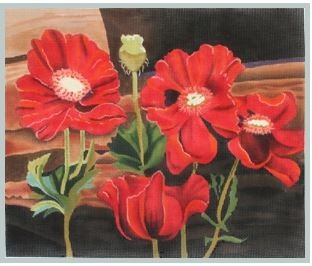 click here to view larger image of Poppies at Windowsill (hand painted canvases)