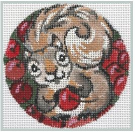 click here to view larger image of Squirrel with Cherries (hand painted canvases)