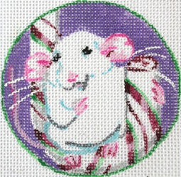 click here to view larger image of White Mouse on Candy Cane (hand painted canvases)