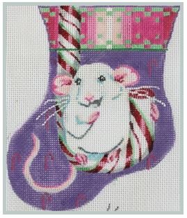 click here to view larger image of Christmas Mouse on Candy Cane Mini (hand painted canvases)