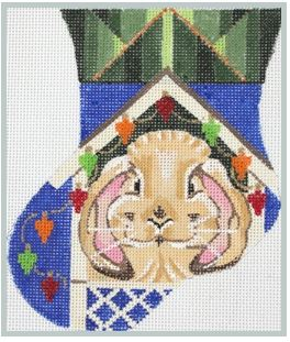 click here to view larger image of Bunny Decorates Hutch for XMas Mini (hand painted canvases)
