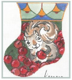 click here to view larger image of Squirrel with Cherries Mini (hand painted canvases)
