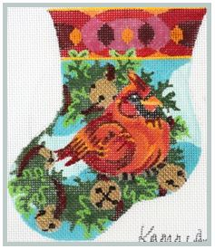Jolly Cardinal Mini Stocking - click here for more details