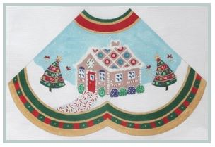 click here to view larger image of Gingerbread House w/striped Tree - Tree Skirt Panel (hand painted canvases)