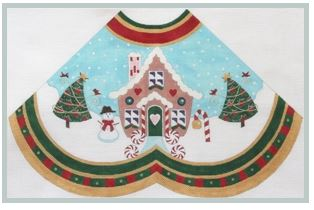 click here to view larger image of Gingerbread House w/starred Tree - Tree Skirt Panel (hand painted canvases)