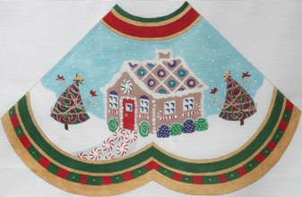 click here to view larger image of Gingerbread House w/paisley Tree - Tree Skirt Panel (hand painted canvases)