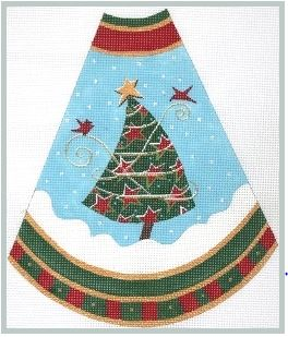 click here to view larger image of Tree Skirt Panel - Red Stars (hand painted canvases)