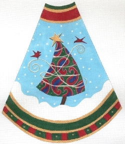 click here to view larger image of Tree Skirt Panel - Red Paisley (hand painted canvases)