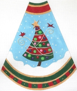 click here to view larger image of Tree Skirt Panel - Red Stripes (hand painted canvases)