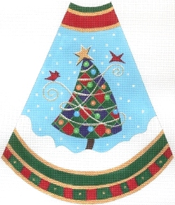 click here to view larger image of Tree Skirt Panel - Red Checkerboard (hand painted canvases)