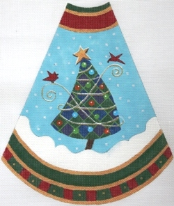 click here to view larger image of Tree Skirt Panel - Blue Checkerboard (hand painted canvases)