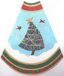click here to view larger image of Tree Skirt Panel - Blue Paisley (hand painted canvases)