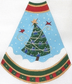 click here to view larger image of Tree Skirt Panel - Blue Stars (hand painted canvases)