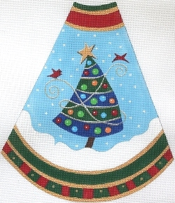 click here to view larger image of Tree Skirt Panel - Blue Stripes (hand painted canvases)