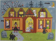 click here to view larger image of Halloween Parade House (hand painted canvases)