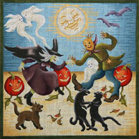 click here to view larger image of Halloween Dance (hand painted canvases)