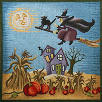 click here to view larger image of Witch Flying on Broomstick (hand painted canvases)
