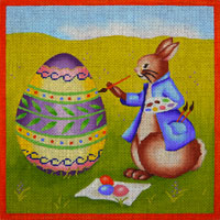 click here to view larger image of Peter Cottontail Painting an Easter Egg (hand painted canvases)
