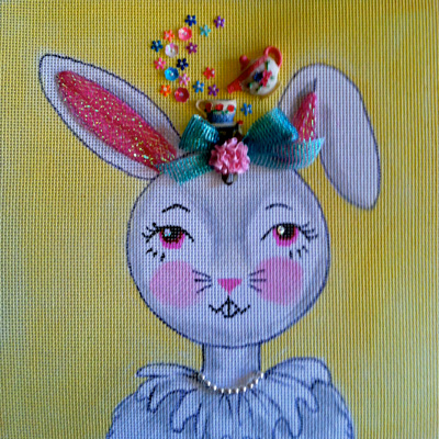 click here to view larger image of Kidlet - Honey Bunny (hand painted canvases)