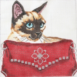 click here to view larger image of Siamese Cat in Red Clutch (hand painted canvases)