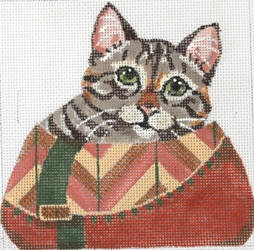 click here to view larger image of Tabby Cat wth Clutch (hand painted canvases)
